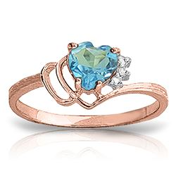 ALARRI 0.97 CTW 14K Solid Rose Gold Ring Natural Diamond Blue Topaz