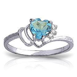 ALARRI 0.97 CTW 14K Solid White Gold Ring Natural Diamond Blue Topaz