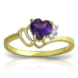 ALARRI 0.97 CTW 14K Solid Gold Ring Natural Diamond Purple Amethyst