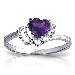 ALARRI 0.97 Carat 14K Solid White Gold Ring Natural Diamond Purple Amethyst