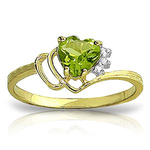 ALARRI 0.97 CTW 14K Solid Gold Ring Natural Diamond Peridot