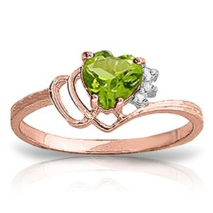 ALARRI 0.97 CTW 14K Solid Rose Gold Ring Natural Diamond Peridot