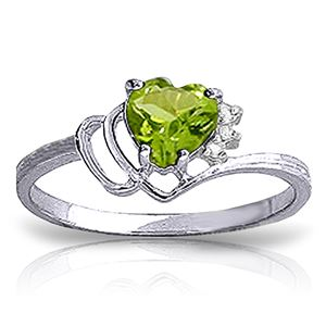ALARRI 0.97 Carat 14K Solid White Gold Ring Natural Diamond Peridot