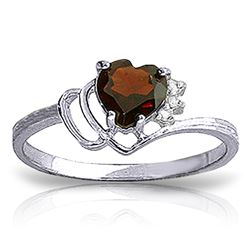 ALARRI 0.97 Carat 14K Solid White Gold Ring Natural Diamond Garnet