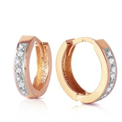 ALARRI 0.04 CTW 14K Solid Rose Gold Hoop Huggie Earrings Diamond