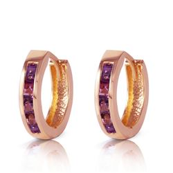 ALARRI 0.85 Carat 14K Solid Rose Gold Hoop Huggie Earrings Purple Amethyst