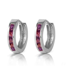 ALARRI 0.85 CTW 14K Solid White Gold Hoop Huggie Earrings Purple Amethyst