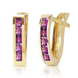 ALARRI 0.85 CTW 14K Solid Gold Oval Huggie Earrings Purple Amethyst
