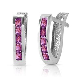 ALARRI 0.85 Carat 14K Solid White Gold Oval Huggie Earrings Purple Amethyst