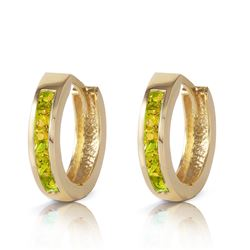 ALARRI 1 Carat 14K Solid Gold Hoop Huggie Earrings Peridot