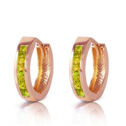 ALARRI 1 CTW 14K Solid Rose Gold Hoop Huggie Earrings Peridot