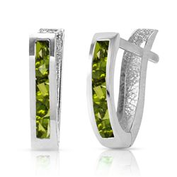 ALARRI 1 Carat 14K Solid White Gold Oval Huggie Earrings Peridot
