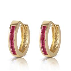 ALARRI 1.3 Carat 14K Solid Gold Hoop Earrings Natural Ruby