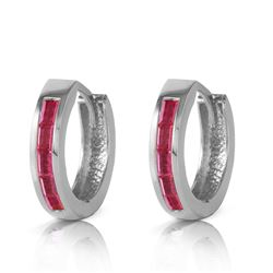 ALARRI 1.3 Carat 14K Solid White Gold Hoop Earrings Natural Ruby