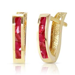 ALARRI 1.3 CTW 14K Solid Gold Oval Huggie Earrings Ruby