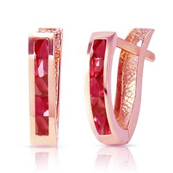 ALARRI 1.3 Carat 14K Solid Rose Gold Oval Huggie Earrings Ruby