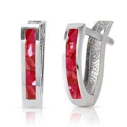 ALARRI 1.3 Carat 14K Solid White Gold Oval Huggie Earrings Ruby