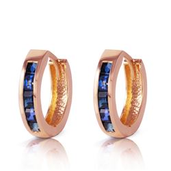 ALARRI 1.3 CTW 14K Solid Rose Gold Hoop Earrings Natural Sapphire