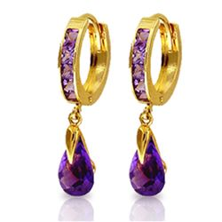 ALARRI 3.3 CTW 14K Solid Gold Huggie Earrings Dangling Amethyst