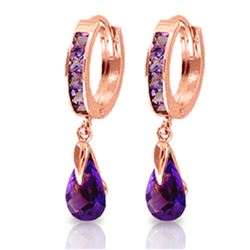 ALARRI 3.3 CTW 14K Solid Rose Gold Huggie Earrings Dangling Amethyst