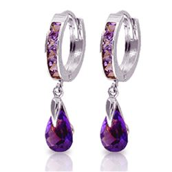 ALARRI 3.3 CTW 14K Solid White Gold Huggie Earrings Dangling Amethyst