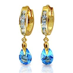 ALARRI 4.2 Carat 14K Solid Gold Huggie Earrings Dangling Blue Topaz