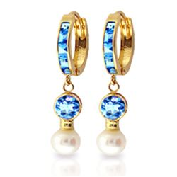 ALARRI 4.3 Carat 14K Solid Gold Huggie Earrings Pearl Blue Topaz