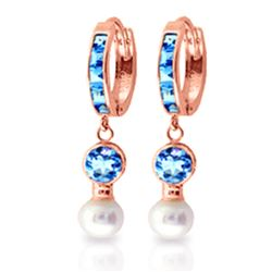 ALARRI 4.3 Carat 14K Solid Rose Gold Huggie Earrings Pearl Blue Topaz