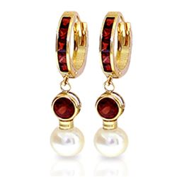ALARRI 4.3 CTW 14K Solid Gold Huggie Earrings Pearl Garnet