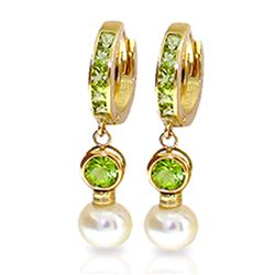ALARRI 4.3 CTW 14K Solid Gold Huggie Earrings Pearl Peridot