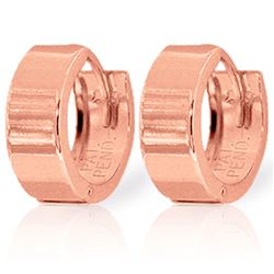 ALARRI 14K Solid Rose Gold Wide Huggie Earrings