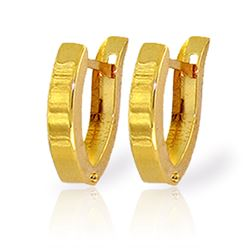 ALARRI 14K Solid Gold Oval Hoop Huggie Earrings