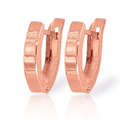 ALARRI 14K Solid Rose Gold Oval Hoop Huggie Earrings