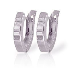 ALARRI 14K Solid White Gold Oval Hoop Huggie Earrings