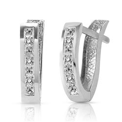 ALARRI 0.04 CTW 14K Solid White Gold Oval Huggie Earrings Diamond