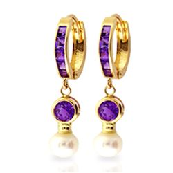 ALARRI 4.15 CTW 14K Solid Gold Huggie Earrings Pearl Amethyst