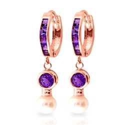 ALARRI 4.15 Carat 14K Solid Rose Gold Huggie Earrings Pearl Amethyst