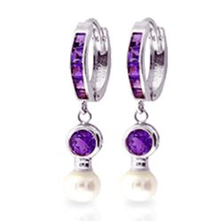 ALARRI 4.15 Carat 14K Solid White Gold Huggie Earrings Pearl Amethyst
