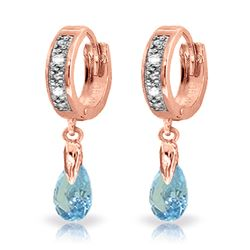 ALARRI 1.37 CTW 14K Solid Rose Gold Hoop Earrings Diamond Blue Topaz