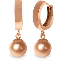 ALARRI 14K Solid Rose Gold Huggie Earrings Ball Drop Hoops