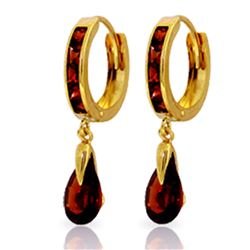 ALARRI 4.3 Carat 14K Solid Gold Hoop Earrings Dangling Garnet