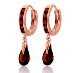 ALARRI 4.3 Carat 14K Solid Rose Gold Hoop Earrings Dangling Garnet