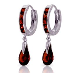 ALARRI 4.3 CTW 14K Solid White Gold Hoop Earrings Dangling Garnet