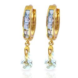 ALARRI 2.95 Carat 14K Solid Gold Hoops Earrings Aquamarine