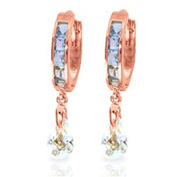 ALARRI 2.95 Carat 14K Solid Rose Gold Hoops Earrings Aquamarine