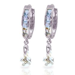 ALARRI 2.95 CTW 14K Solid White Gold Hoops Earrings Aquamarine