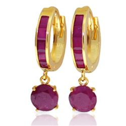 ALARRI 3.3 Carat 14K Solid Gold Huggie Earrings Natural Ruby