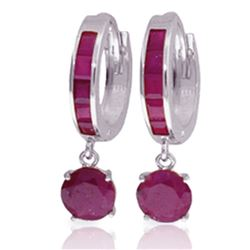 ALARRI 3.3 Carat 14K Solid White Gold Huggie Earrings Natural Ruby