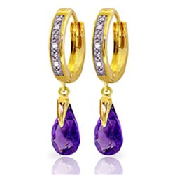 ALARRI 2.53 Carat 14K Solid Gold Marseille Amethyst Diamond Earrings