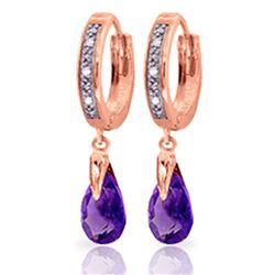 ALARRI 2.53 Carat 14K Solid Rose Gold Diamond Pear Amethyst Drop Hoops